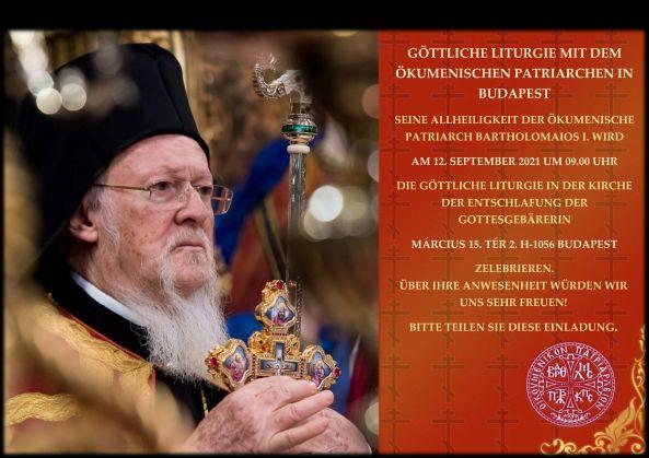 Weiterlesen: Einladung zur Göttlichen Liturgie mit Seiner Allheiligkeit Patriarch Bartholomaios